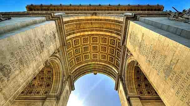 From under the arc de triomphe of Paris
