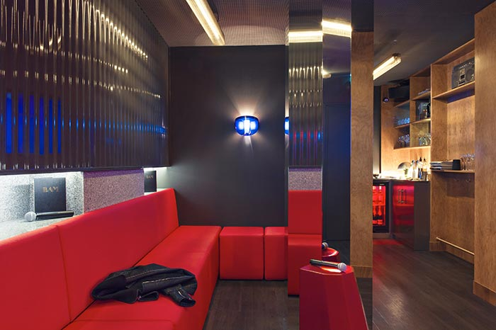 This is a picture of the interior of a karaoke room in Paris.
