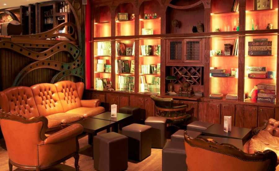 This is a picture of the interior of le dernier bar avant la fin du monde, which is a nice place to play and have a drink in Paris.