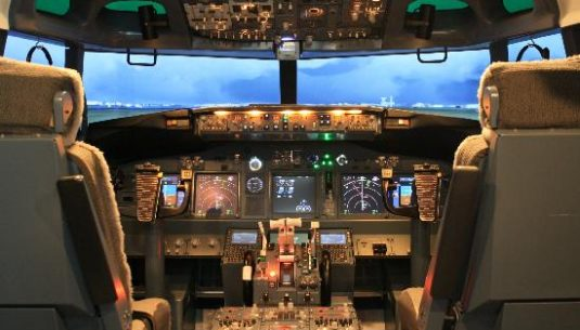 This is a picture of an airplane cockpit.
