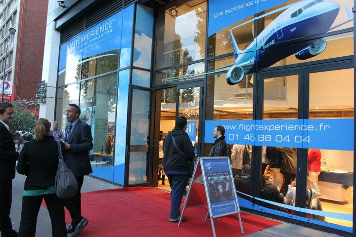 This is a picture of the exterior of a flight simulator in Paris.