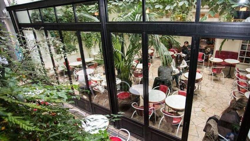 This is a picture of a terrace in Paris.