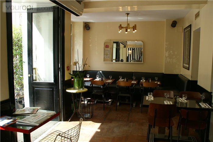 This is a picture of the interior of the Hotel Amour, which is a nice restaurant in Paris.