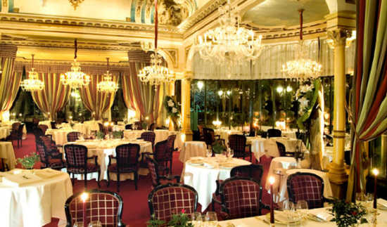 This is a picture of the inside of La Grande Cascade, a restaurant in paris.