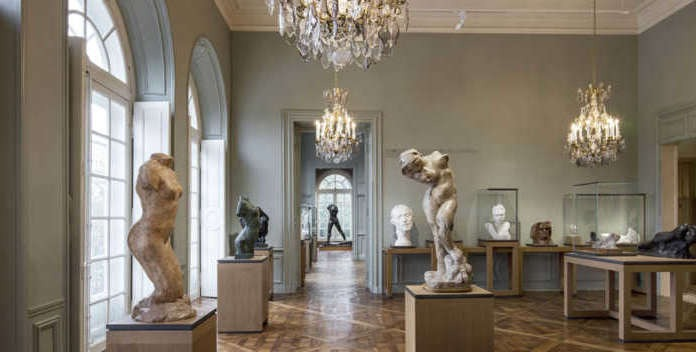 The is a picture of the interior of the musée Rodin at Paris.