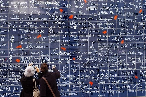 Picture of the I love you wall in Montmartre Paris.